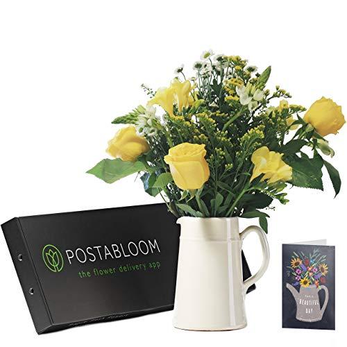 Blumen-Briquet mit gelben Rosen und Freesien, Blumenstrauß