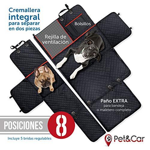 Funda cubreasientos para perro | Protector universal impermeable de mascotas para asiento trasero y maletero de coche | Cubierta asiento acolchada con rejilla para que tu perro viaje en primera clase