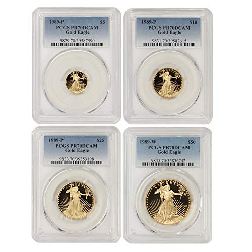 1989 Set of 4 American Gold Eagles PR-70 Deep Cameo by CoinFolio PR70DCAM
