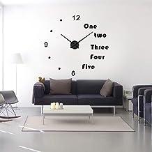 ساعة حائط من ملوري داي ثلاثية الابعاد بتصميم حديث ساعات كبيرة لتزيين غرفة المعيشة بملصقات جدارية كبيرة مقاس 47 انش (اسود)