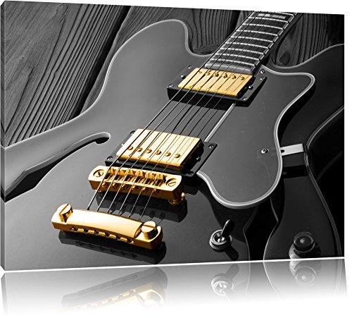 elegante E-Gitarre schwarz/weiß Format: 120x80 auf Leinwand, XXL riesige Bilder fertig gerahmt mit Keilrahmen, Kunstdruck auf Wandbild mit Rahmen, günstiger als Gemälde oder Ölbild, kein Poster oder Plakat