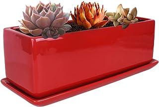 Vencer 12 Inch Modern Minimalist Ceramic Succulent Planter Pot - Window Box with Saucer,Office Desktop Potted Stand,Red,V...