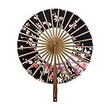 Rocita Abanico redondo de viento para mujer, diseño de flores de bambú, estilo japonés, plegable, de mano