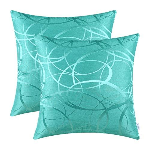 CaliTime Kissenhülle Kissenbezüge 2er Pack 45cm x 45cm Türkis glänzend & matt Kontrast Kreise Ringe geometrische Dekokissenbezüge