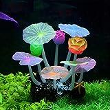 Stock Show - Planta Artificial de Silicona con diseño de Flores de Loto con Hojas, Hongos para decoración de Acuario