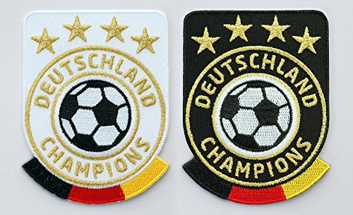 Club of Heroes 2er Set Deutschland Fussball Champions Abzeichen 86 x 65 mm/Gold Stickerei Aufbügler Patch Patches Bügelbild für Trikot Dress Sport Kleidung/National Mannschaft Team Welt-Meister Fan