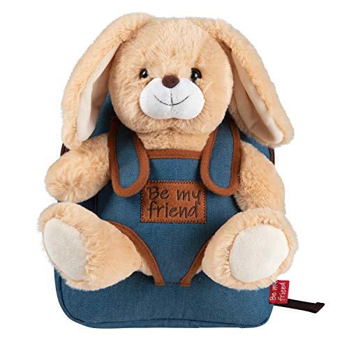 PERLETTI Kuscheltier Häschen Rucksack für Kinder mit Plüschhase - Pluschspielzeug Weich Flauschig und Kindergarten Schultasche mit Plüsch Tier - Baby 2/5 Jahren Kindertasche 27x21x9 cm (Kaninchen)
