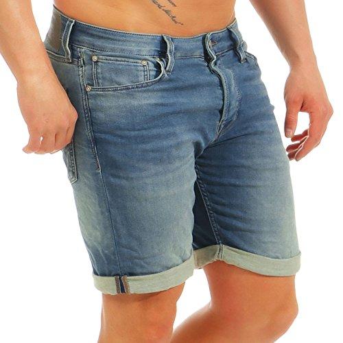 JACK & JONES Herren Jogg Jeans Shorts Rick 12132206 Blue Denim L