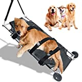 Generic Brands Stainless Steel Big Dog Stretcher, Foldable Pet Transport Animal Trolley with Noiseless Rubber Wheels