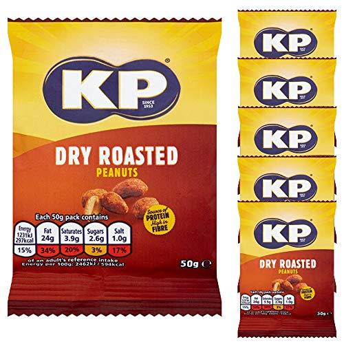 6 x 50g KP Dry Roasted Peanuts Vegetarian Snack Food Protein Fibre