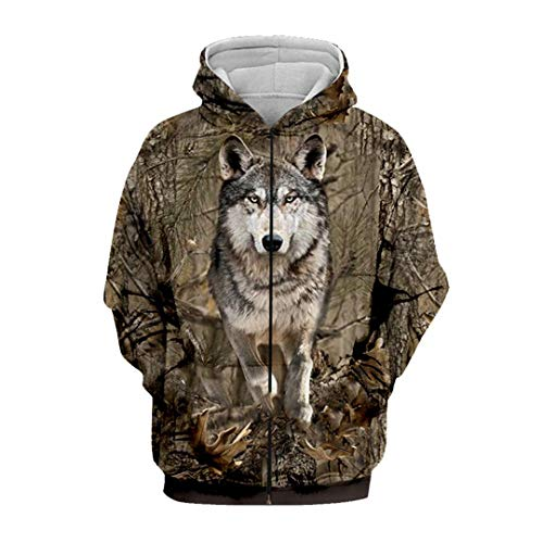 Casual Hip Hop Men's Hoodies 3D Print Animal Hunting Wolf Hoodie Men Women Camouflage Sweatshirt Zipper Hoodie Asia XXL