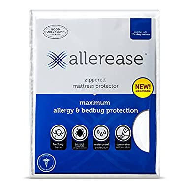 AllerEase Maximum Allergy and Bed Bug Waterproof Zippered Mattress Protector - Allergist Recommended to Prevent Collection of Dust Mites and Other Allergens, Vinyl Free & Hypoallergenic, Queen Sized
