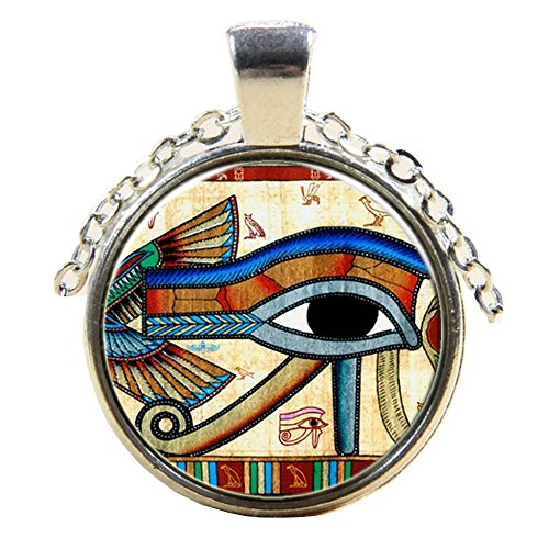 Schöner Anhänger versilbert Auge von Horus Lupe mit Kette