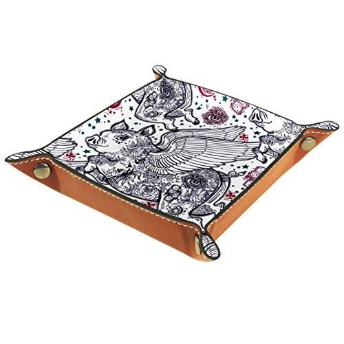 Bandeja de Valet, Organizador de Escritorio, Caja de Almacenamiento, Cuero, Cerdo con alas voladoras, patrón sin Costuras, Bandeja de Recogida de lechones para Uso doméstico