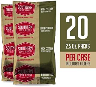 High Cotton DECAF Coffee Packs - 2.5oz - 100% select Arabica Coffee - Locally Roasted in Mississippi - Always Fresh (High Cotton DECAF Coffee Packets)