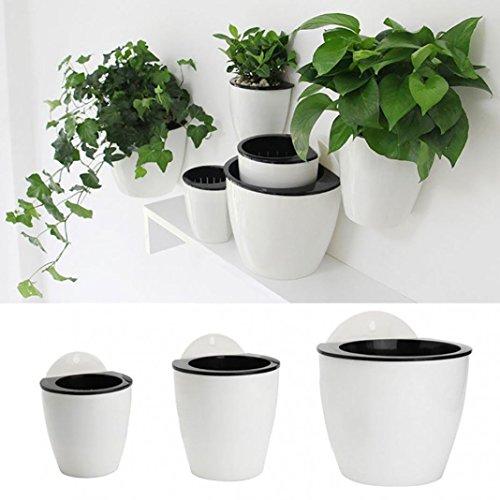 Vasi da muro autoportanti; vasi da fiori creativi e decorativi; auto-innaffianti; per giardini e balconi, plastica, White + Black, L