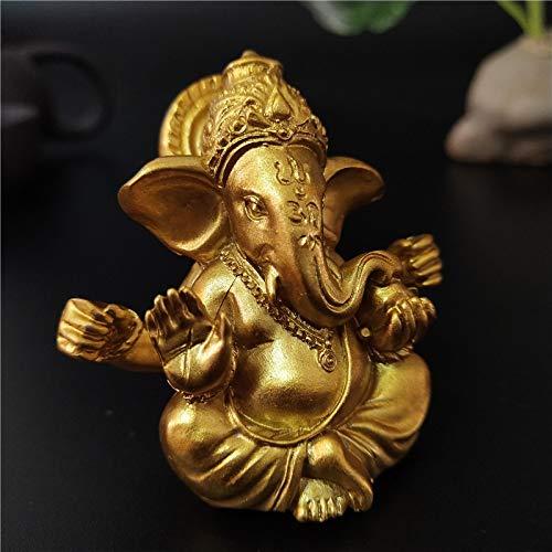 QWERWEFR Gold Lord Ganesha Buddha Statue Indischer Elefant Gott Skulpturen Ganesh Figuren Harz Hausgarten Buddha Dekoration Statuen