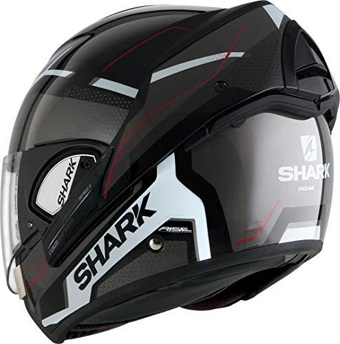 Shark EVOline de tiburón 3hataum KWR cascos de motocicleta, color negro/blanco/rojo, tamaño M