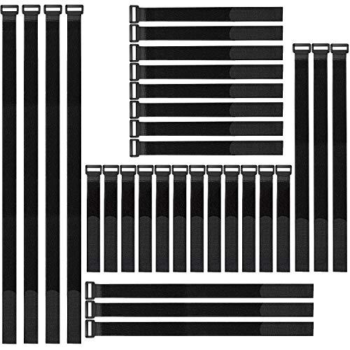 NEPAK Lot de 30 pièce Attaches de Câble câble en réutilisables Sangles,Attache Câble en Nylon Réglable, Crochet et Boucle (20cm-30cm-45cm-60 cm) (Noir)