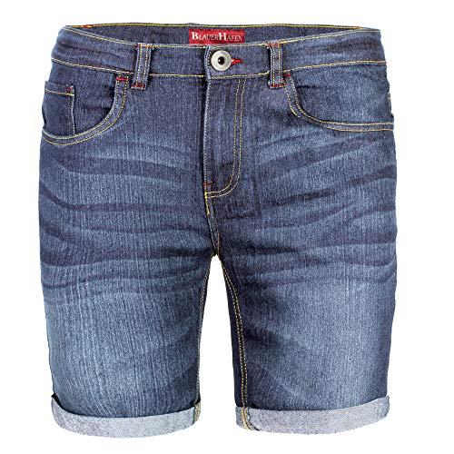 BlauerHafen Herren Designer Jeans Shorts Stretch Kurze Hose Super Flex Slim Fit Sommer Denim Half Pants Casual Bermuda (W32 (Taille: 84-86cm), Dunkelblau)