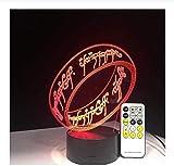 giyiohok 3D Ringe Tischlampe Led 7 Bunte Luminaria Fingerring Nachtlicht USB Nachttisch Schlaflicht Lampara Schlafzimmer Dekor Geschenke