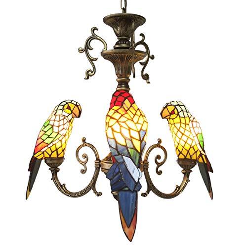 FUMAT Tiffany Style Stained Glass Parrot Chandelier 3 Heads Restaurant Pendant Lamps 3 Light Bulbs Living Room Hanglamp Kitchen Pendant Lamp Avian Full Spectrum Lighting