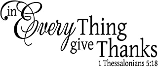 KYSUN in Everything Give Thanks 1 Thessalonians 5:18 Wall Decal Black Vinyl Christian Quotes Bible Scripture Religious Home Décor