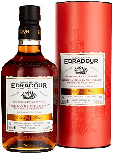 Edradour 21 Years Old Oloroso Cask Finish mit Geschenkverpackung 1995 Whisky (1 x 0.7 l)