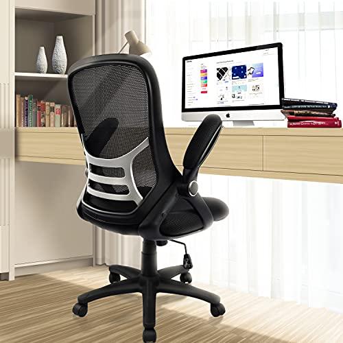 Office Chair Ergonomic Mesh Swivel Computer Task Desk Chair Comfortable, Flip-up Arms, Adjustable Height, Black