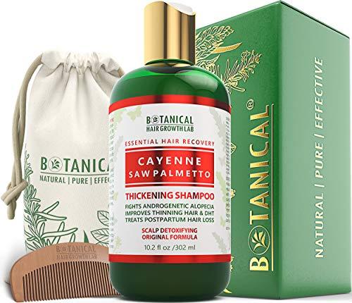 BOTANICAL HAIR GROWTH LAB - Hair Thickening Shampoo - Cayenne Saw Palmetto - Scalp Detoxifying / Original - For Hair Loss Alopecia Prevention Postpartum DHT Blocker - Gift Set - 10.2 Ounce