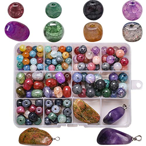 N/A. 10 cuentas de cristal agrietadas de cuadrícula con colgante de piedra irregular, joyería, manualidades, collares, pulseras, accesorios