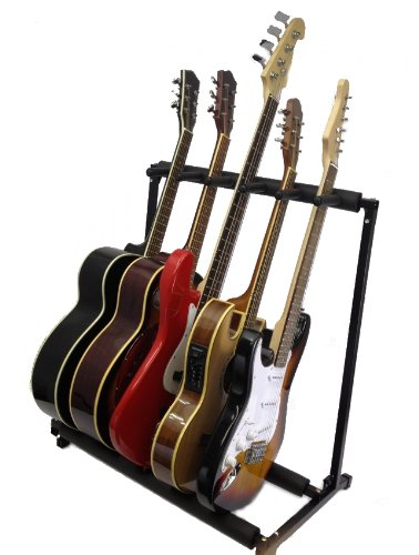 Zenison 5 Guitar Stand Multiple Five Instrument Display Rack Folding Padded Organizer