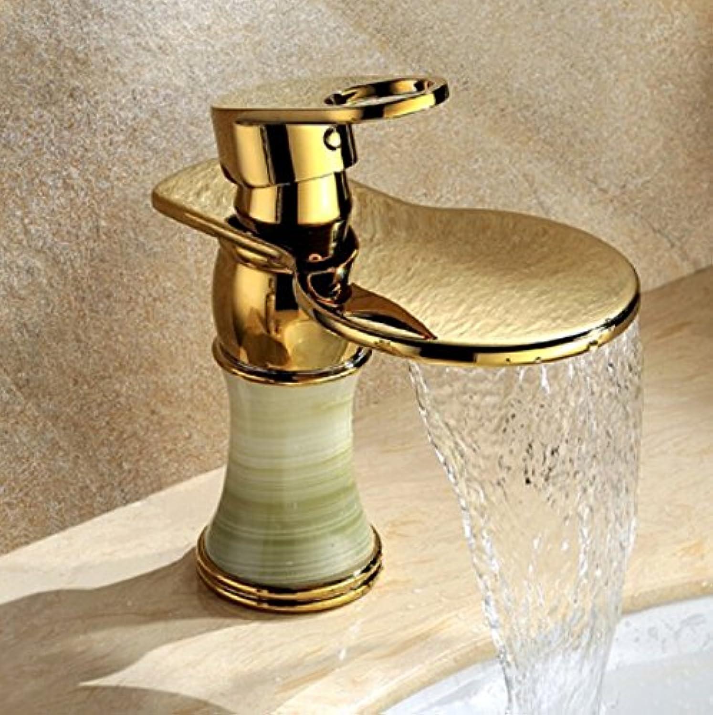 LSRHT Waschtischarmatur Wasserhahn Armatur Badezimmer Waschbecken Mischbatterie Kupfer Gold Jade Wasserflle tb-01