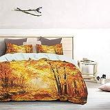 UNOSEKS LANZON - Juego de funda de edredón con sombra pálida de otoño en el bosque pastoral calma vida sencilla naturaleza pintura lejos arte verano ropa de cama muy suave naranja marrón tamaño king