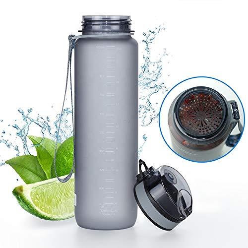 Tritan Wasserflasche 350 ml, 500 ml, 650 ml, 1 l - aus BPA-freiem Kunststoff - im Freien - Ein-Klick-Deckel - leicht zu öffnen - umweltfreundlich - wiederverwendbar (grau, 1000 ml)