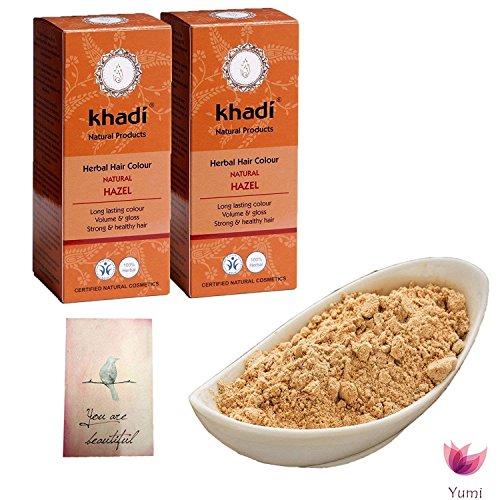 Set Deux Khadi - Coloration aux Plantes Brun Noisette Naturel + 250 gr Poudre d'Amla BIO Yumi Bio Shop 250 gr