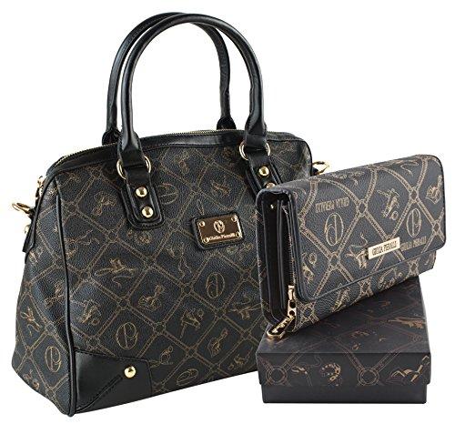 Set: Damentasche + Geldbörse der Marke Giulia Pieralli in 6 (Damen Handtasche + Geldbörse) Umhängetasche (2622B-Schwarz)