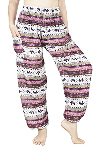 Lofbaz Mujer Pantalones Harem con Cintura Calada de Rayon Smoked Flowy Hippie - Elephant 16 Rosa - XL