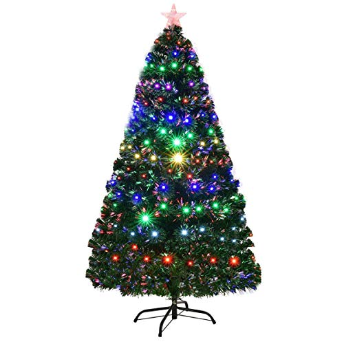COSTWAY 6ft Fiber Optic Christmas Tree, Green Xmas Tree with 8 Modes Changing Multicolor Lights Effects and Metal Stand, Indoor Xmas Decoration (6 ft/ 1.8 m + 230 Tips)