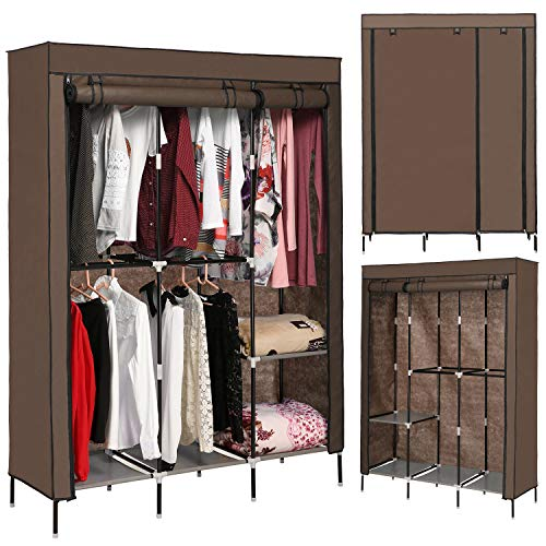 emdaot Portable Clothes Closet Organizer Wardrobe with Double Rod Shelves Freestanding Storage Wardrobe (Coffee)