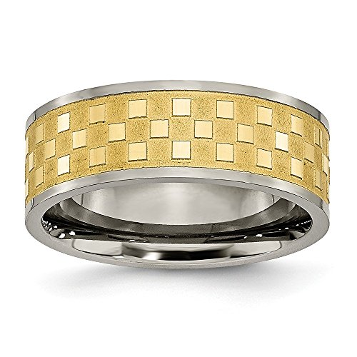 ICE CARATS Titanium 8mm Yellow Plated Checkered Wedding Ring Band Size 10.50 Fancy Fashion Jewelry for Women Gifts for Her