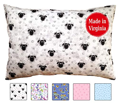 Toddler Pillowcase (14x19) 100% Cotton Percale - Envelope Style - Handmade in USA by a Small Family Company for Over 12 Years (Sheep)