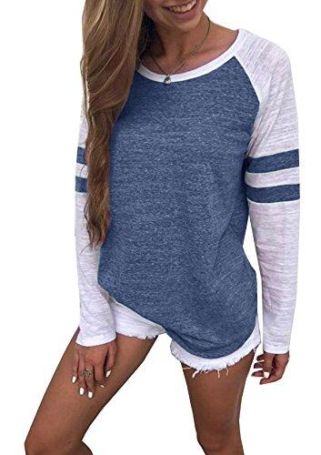 Generic Hiistandd Damen Langarmshirt Farbblock Langarm T-Shirt Casual Rundhals Tunika Tops (Large, blau)