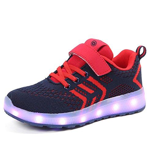 Seogva Unisex Kinder LED Schuhe USB Lade 7 Farbe Leuchten Turnschuhe für Jungen Mädchen-Rot/EU30
