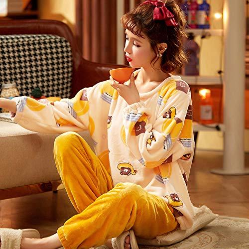 ASADVE Pijamas de Invierno para Mujer espesados Lindo Estilo de Cobertura de Fresa otoño e Invierno Franela cálido Traje de Servicio a Domicilio-XXL_Vellón H-3208
