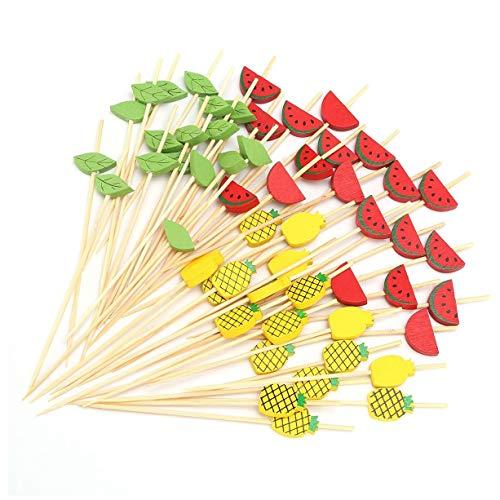 Runtodo Palillos de Bambú para CóCtel de 4.7 Pulgadas Brochetas de Brochetas de Frutas Palillos de Dientes Elegantes para Hawaii Luau DecoracióN de Hojas de Fiestas Palitos de Comida