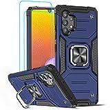 LeYi Funda Samsung Galaxy A32 4G Armor Carcasa con [2 Unidades] Cristal Templado, Cover con 360 Grados Magnetic Anillo Soporte Hard PC y Silicona TPU Bumper antigolpes Case para Samsung A32 4G, Azul