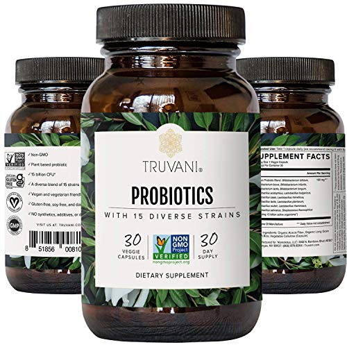 TRUVANI - 15 Billion CFU Probiotic with 15 Strains   Promotes Digestive Health, Immune Support & Gut Health   No Fillers, Vegan, Non GMO   30 Servings
