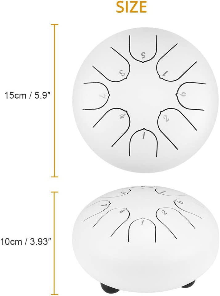 Steel Tongue Drum,Tendlife 6 Inch Hand Pan Percussion Drum 8 Tune Drumsticks Instrument Set,with drumsticks and carrying bags