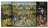 Lienzo impreso en 3 paneles de 60 x 100 cm, réplica del famosos cuadro «El jardín de las delicias» para decoración de pared en salones, Pc5843, 60x120cm